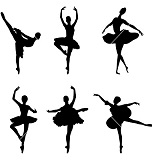Set of ballet dancers silhouettes. Vector illustration